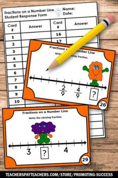 Halloween Math Activities, 3rd Grade Fractions on a Number Line Task Cards