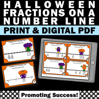 3rd Grade Halloween Math Activities w/ Fractions on a Number Line Task Cards