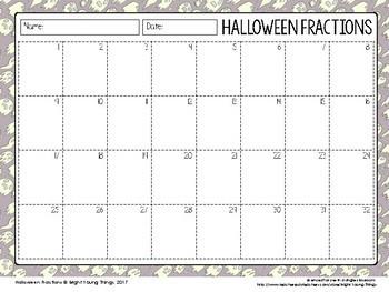 Halloween Math - Fractions task cards