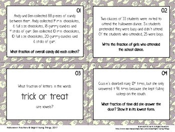 Halloween Math - Fractions task cards