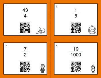 Halloween Math: Fractions to Decimals QR Code Task Cards