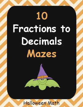 Halloween Math: Fractions to Percents Maze