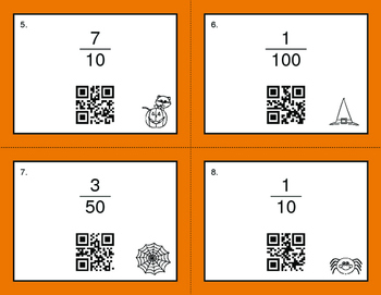 Halloween Math: Fractions to Percents QR Code Task Cards