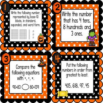 Math Spiral Review Task Cards Halloween Freebie