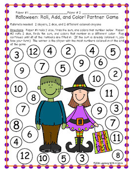 Halloween Math Freebie - Roll, Add, and Color Partner Game