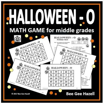 Halloween Math Game for Middle Grades (HALLOWEEN-O)
