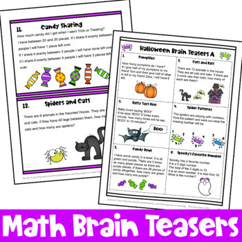 Activities: Halloween Math Games, Puzzles and Brain Teasers