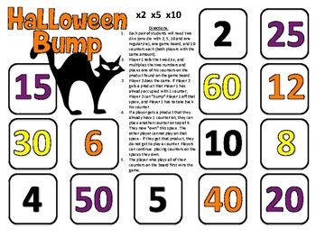 Halloween Math Games for Multiplying by 2, 5, and 10 (Grade 3)