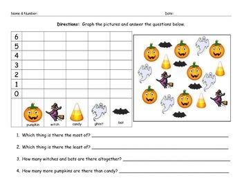 Halloween Math Graphing Morning Work Worksheet Homework