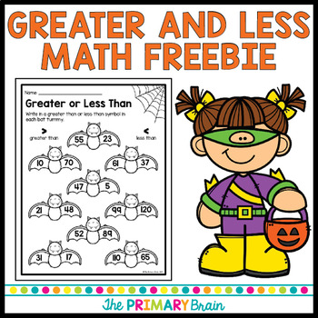 halloween math greater and less than freebie by the primary brain