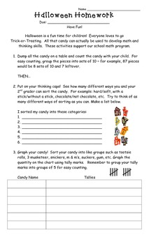 Halloween Math Homework (Sort and Tally)