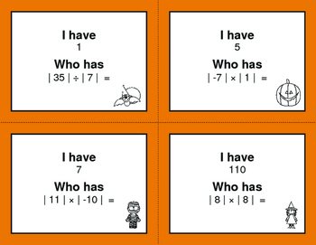 Halloween Math: I Have, Who Has - Absolute Value - Multiplication & Division