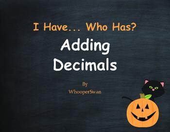 Halloween Math: I Have, Who Has - Adding Decimals