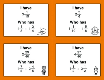 Halloween Math: I Have, Who Has - Adding Mixed Fractions