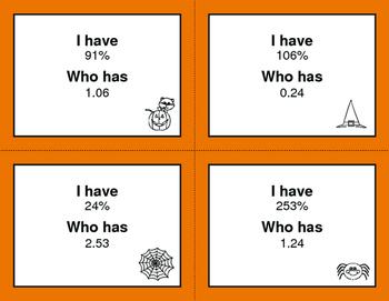 Halloween Math: I Have, Who Has - Decimals and Percents