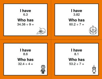 Halloween Math: I Have, Who Has - Dividing Decimals