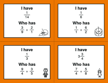 Halloween Math: I Have, Who Has - Dividing Fractions