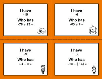 Halloween Math: I Have, Who Has - Dividing Integers