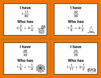 Halloween Math: I Have, Who Has - Dividing Mixed Fractions