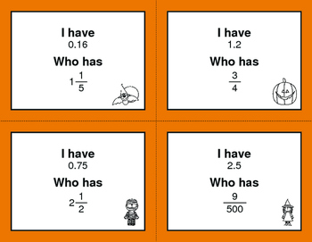Halloween Math: I Have, Who Has - Fractions to Decimals