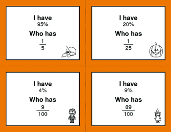 Halloween Math: I Have, Who Has - Fractions to Percents