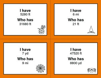 Halloween Math: I Have, Who Has - Length Conversions U.S. Customary Unit