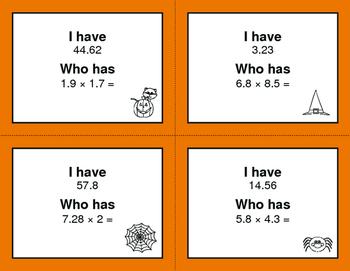 Halloween Math: I Have, Who Has - Multiplying Decimals