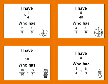 Halloween Math: I Have, Who Has - Multiplying Fractions