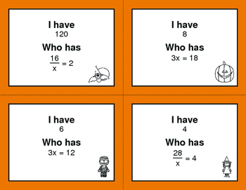 Halloween Math: I Have, Who Has - One Step Equations (Multiplication & Division)