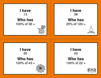 Halloween Math: I Have, Who Has - Percents