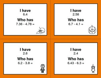 Halloween Math: I Have, Who Has - Subtracting Decimals