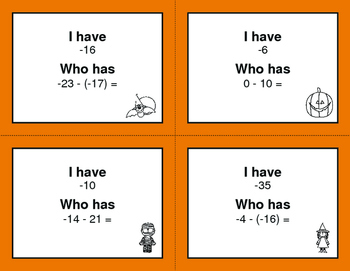Halloween Math: I Have, Who Has - Subtracting Integers