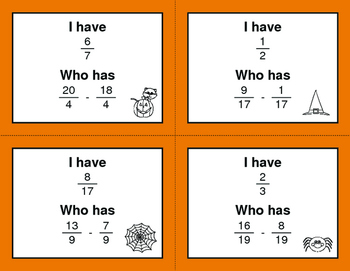 Halloween Math: I Have, Who Has - Subtracting Like Fractions