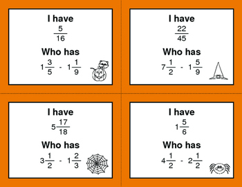 Halloween Math: I Have, Who Has - Subtracting Mixed Fractions