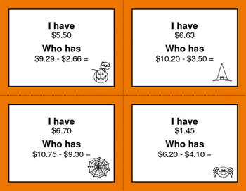 Halloween Math: I Have, Who Has - Subtracting Money