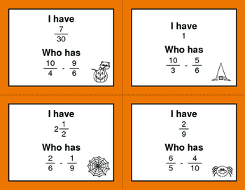 Halloween Math: I Have, Who Has - Subtracting Unlike Fractions