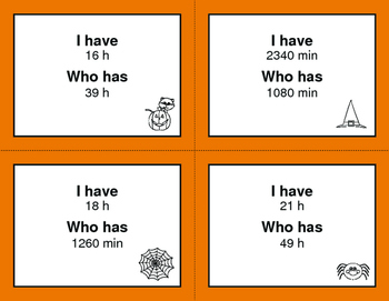 Halloween Math: I Have, Who Has - Time Conversion: Days & Hours