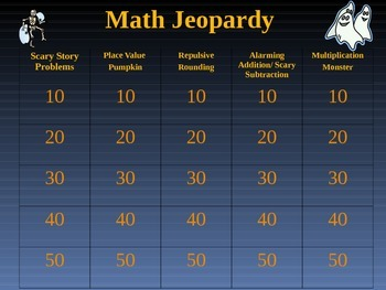 Halloween Math Jeopardy