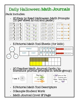 Math Journal Prompts for Halloween (Kinder/Grade 1)
