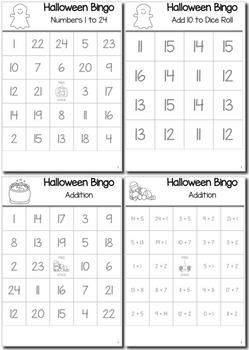 Halloween Math Kindergarten BINGO Game Bundle
