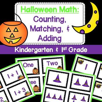 Halloween Math: Kindergarten Counting, Matching and Adding