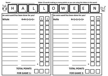 Halloween Math & Language Word Making Years 3-5