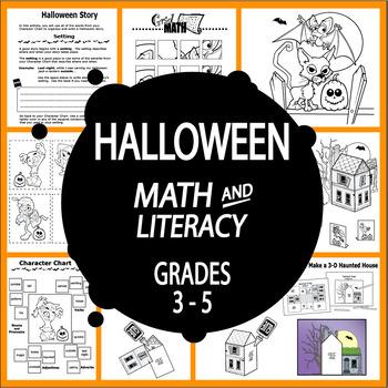 Halloween Math and Literacy + Haunted House Craft & Halloween Writing Activities