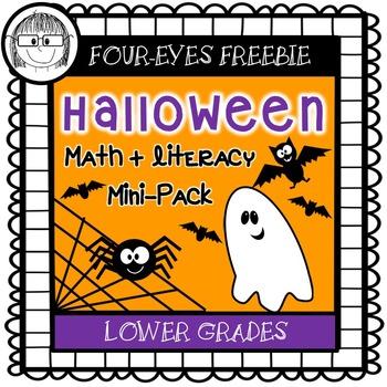 Halloween Math + Literacy Mini-Pack {Four-eyes Freebie!} L