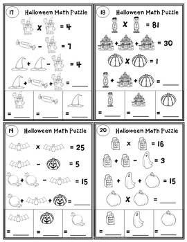 Halloween Math Worksheets: Logic Puzzles with Pictures  EASY MODE