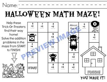 Halloween Math Maze! Basic Addition Facts
