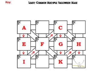 Halloween Math Maze: Least Common Multiple Activity