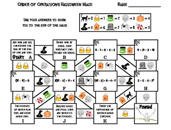 Halloween Math Maze: Order of Operations Activity