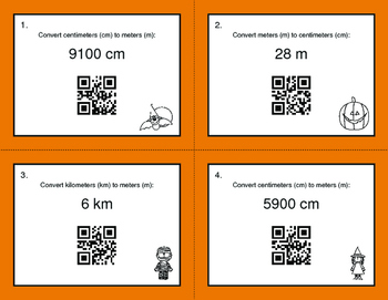 Halloween Math: Metric Length Conversions QR Code Task Cards