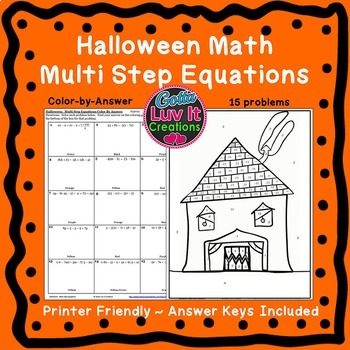 Halloween Math Solving Equations Variables Both Sides Fall Activities Color by #